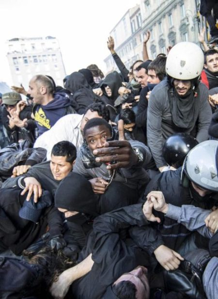 Clashes during protest against Italian government and austerity measures