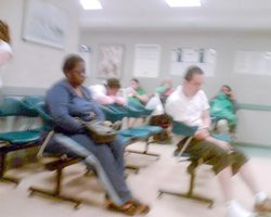 Obama Cares plasic chair in the exam room
